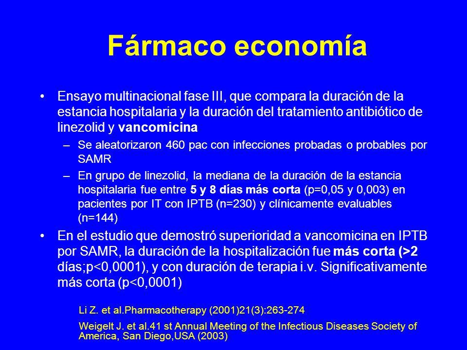 Fármaco economía Ensayo multinacional fase III, que compara la duración de la estancia hospitalaria y la duración del tratamiento antibiótico de linezolid y vancomicina –Se aleatorizaron 460 pac con infecciones probadas o probables por SAMR –En grupo de linezolid, la mediana de la duración de la estancia hospitalaria fue entre 5 y 8 días más corta (p=0,05 y 0,003) en pacientes por IT con IPTB (n=230) y clínicamente evaluables (n=144) En el estudio que demostró superioridad a vancomicina en IPTB por SAMR, la duración de la hospitalización fue más corta (>2 días;p<0,0001), y con duración de terapia i.v.