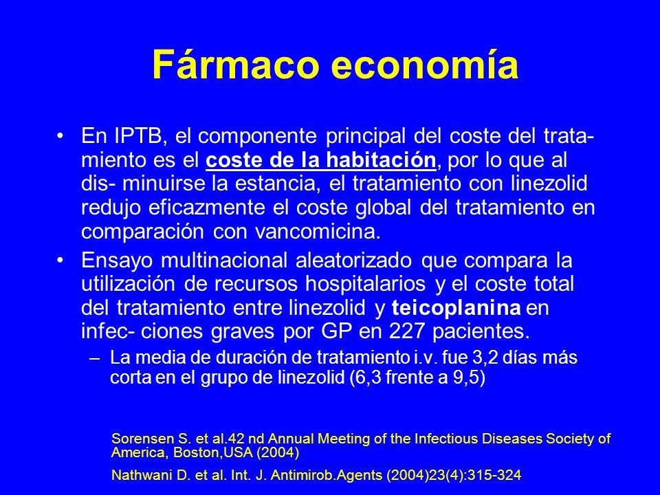 Fármaco economía En IPTB, el componente principal del coste del trata- miento es el coste de la habitación, por lo que al dis- minuirse la estancia, el tratamiento con linezolid redujo eficazmente el coste global del tratamiento en comparación con vancomicina.