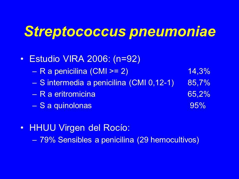 Streptococcus pneumoniae Estudio VIRA 2006: (n=92) –R a penicilina (CMI >= 2)14,3% –S intermedia a penicilina (CMI 0,12-1)85,7% –R a eritromicina 65,2% –S a quinolonas 95% HHUU Virgen del Rocío: –79% Sensibles a penicilina (29 hemocultivos)