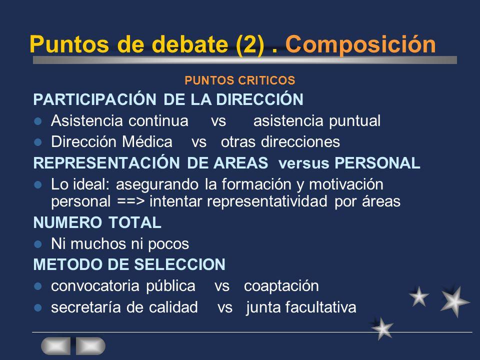 Funcionamiento PaísAutoresPeriodicidad% EspañaGENESIS 2008Establecida A demanda habitualmente A demanda en determinados casos 75% 25% 35% Reino UnidoCooke 2005Mensual Bimestral Trimestral 35% 42% 20% HolandaFijn 1999Mensual Bimestral Semestral-anual 47% 18% <10% AlemaniaThürmann 1997Semestral Cuatrimestral A demanda 34% 43% 14% En España, en el 46 % de los hospitales, el médico solicitante asiste a la CFT en todos o en la mayoría de los casos.