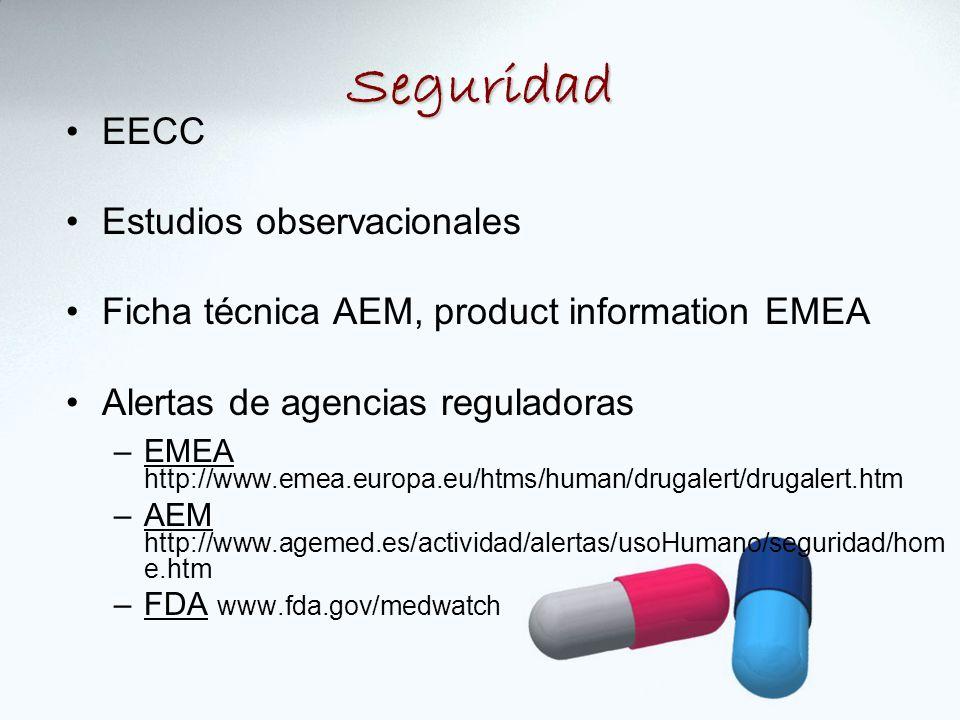 EECC Estudios observacionales Ficha técnica AEM, product information EMEA Alertas de agencias reguladoras –EMEA http://www.emea.europa.eu/htms/human/drugalert/drugalert.htm –AEM http://www.agemed.es/actividad/alertas/usoHumano/seguridad/hom e.htm –FDA www.fda.gov/medwatch Seguridad