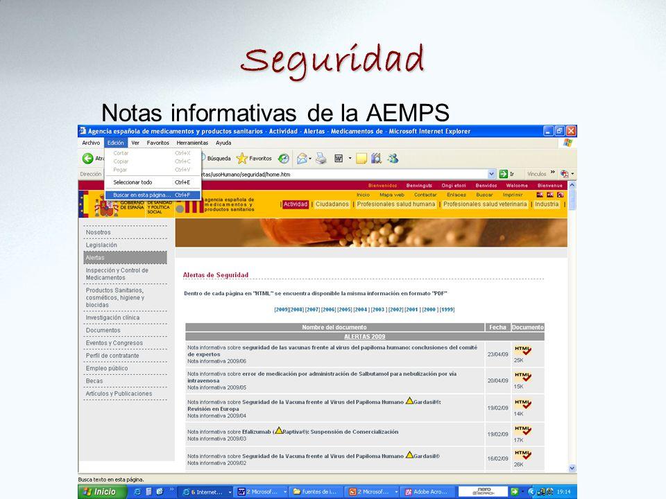 Seguridad Notas informativas de la AEMPS