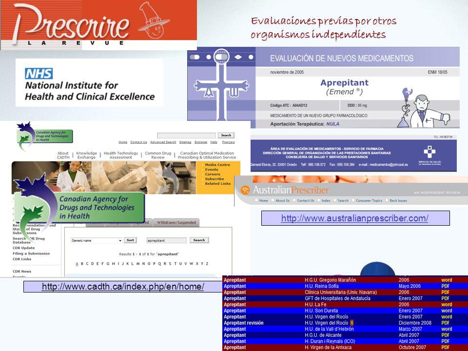 Evaluaciones previas por otros organismos independientes http://www.australianprescriber.com/ http://www.cadth.ca/index.php/en/home/