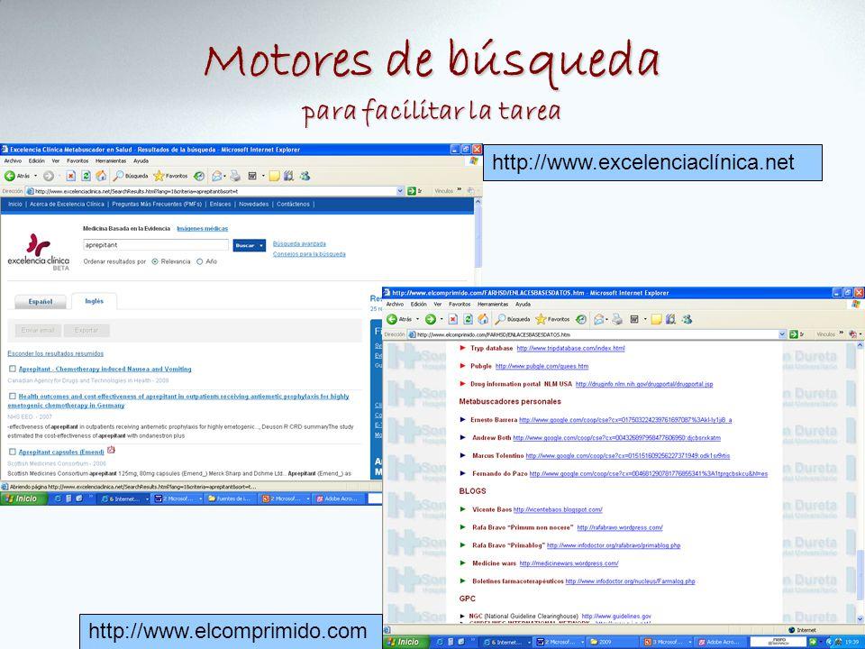 Motores de búsqueda para facilitar la tarea http://www.elcomprimido.com http://www.excelenciaclínica.net
