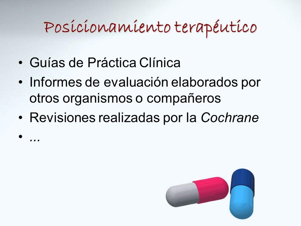 Posicionamiento terapéutico Guías de Práctica Clínica Informes de evaluación elaborados por otros organismos o compañeros Revisiones realizadas por la Cochrane...