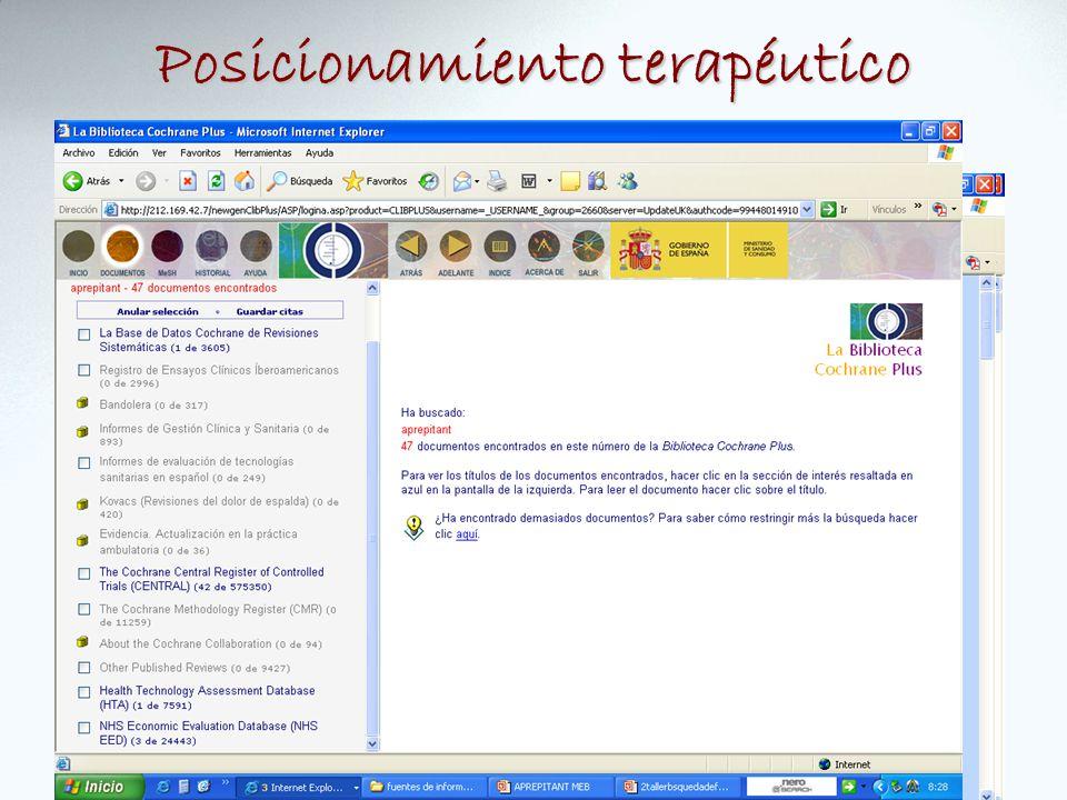 Posicionamiento terapéutico GPC