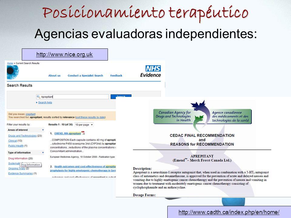 Agencias evaluadoras independientes: http://www.nice.org.uk http://www.cadth.ca/index.php/en/home/ Posicionamiento terapéutico