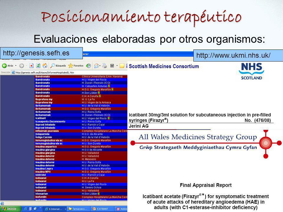 Posicionamiento terapéutico Evaluaciones elaboradas por otros organismos: http://www.ukmi.nhs.uk/ http://genesis.sefh.es