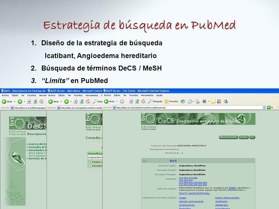 Estrategia de búsqueda en PubMed 1.Diseño de la estrategia de búsqueda Icatibant, Angioedema hereditario 2.Búsqueda de términos DeCS / MeSH 3.Limits en PubMed