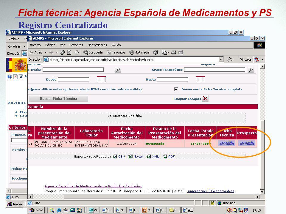 Ficha técnica: Agencia Española de Medicamentos y PS Registro Centralizado