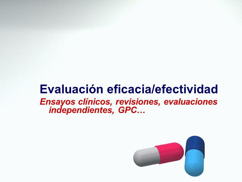 Evaluación eficacia/efectividad Ensayos clínicos, revisiones, evaluaciones independientes, GPC…