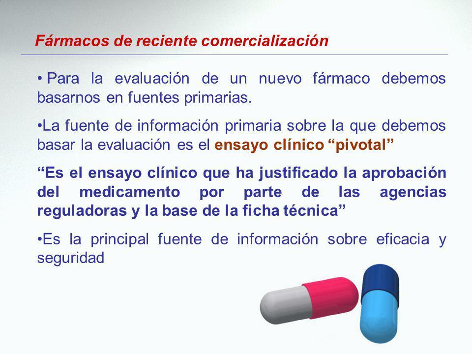 Fármacos de reciente comercialización Para la evaluación de un nuevo fármaco debemos basarnos en fuentes primarias. La fuente de información primaria