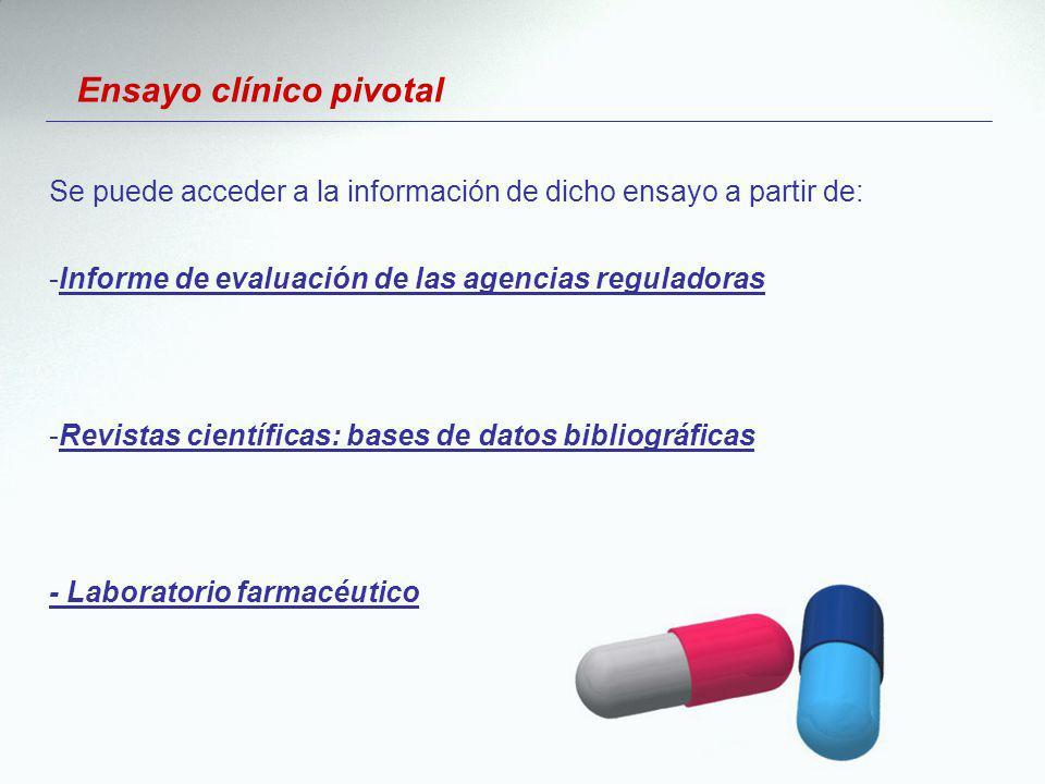 Ensayo clínico pivotal Se puede acceder a la información de dicho ensayo a partir de: -Informe de evaluación de las agencias reguladoras -Revistas cie