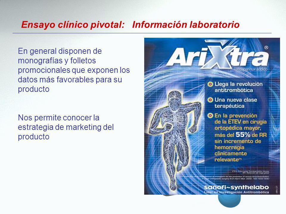 Ensayo clínico pivotal: Información laboratorio En general disponen de monografías y folletos promocionales que exponen los datos más favorables para