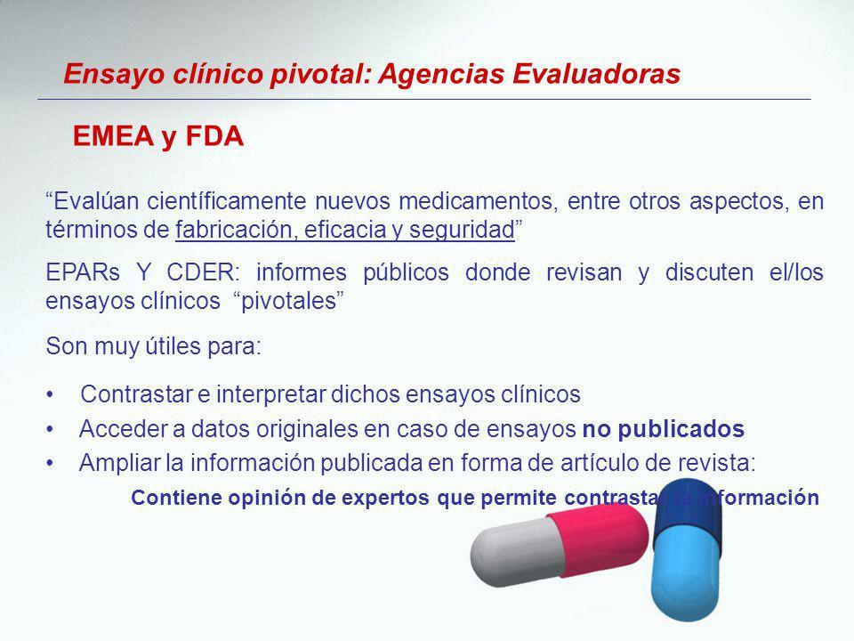 Ensayo clínico pivotal: Agencias Evaluadoras Evalúan científicamente nuevos medicamentos, entre otros aspectos, en términos de fabricación, eficacia y