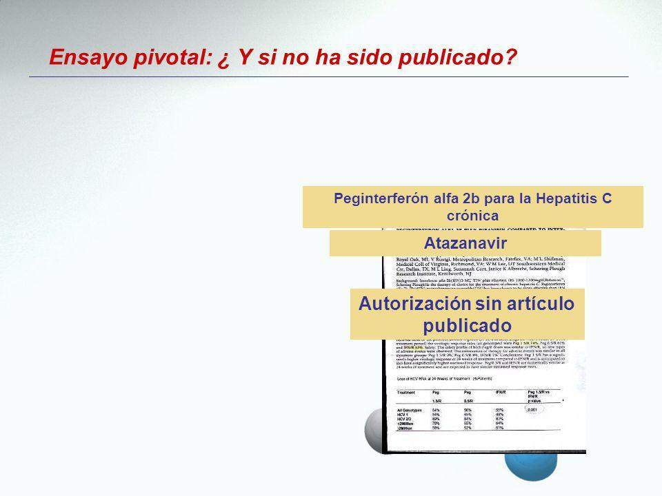Ensayo pivotal: ¿ Y si no ha sido publicado? Atazanavir Autorización sin artículo publicado Peginterferón alfa 2b para la Hepatitis C crónica