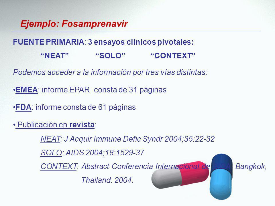 Ejemplo: Fosamprenavir Podemos acceder a la información por tres vías distintas: EMEA: informe EPAR consta de 31 páginas FDA: informe consta de 61 pág