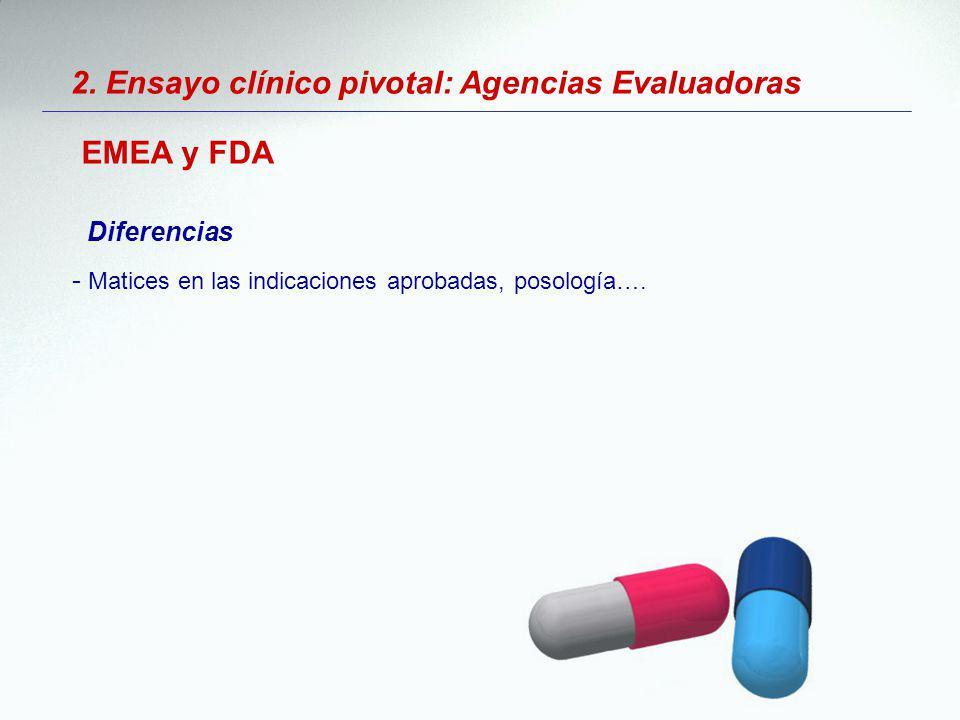 2. Ensayo clínico pivotal: Agencias Evaluadoras EMEA y FDA Diferencias - Matices en las indicaciones aprobadas, posología….