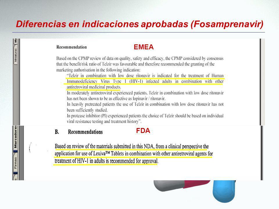 Diferencias en indicaciones aprobadas (Fosamprenavir) EMEA FDA