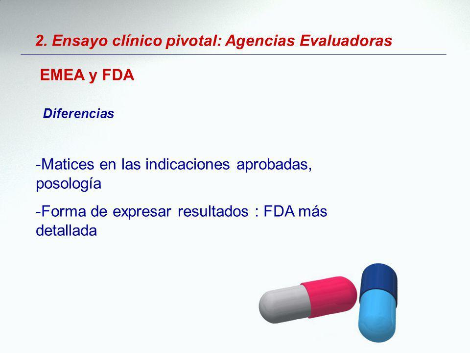 2. Ensayo clínico pivotal: Agencias Evaluadoras EMEA y FDA Diferencias -Matices en las indicaciones aprobadas, posología -Forma de expresar resultados