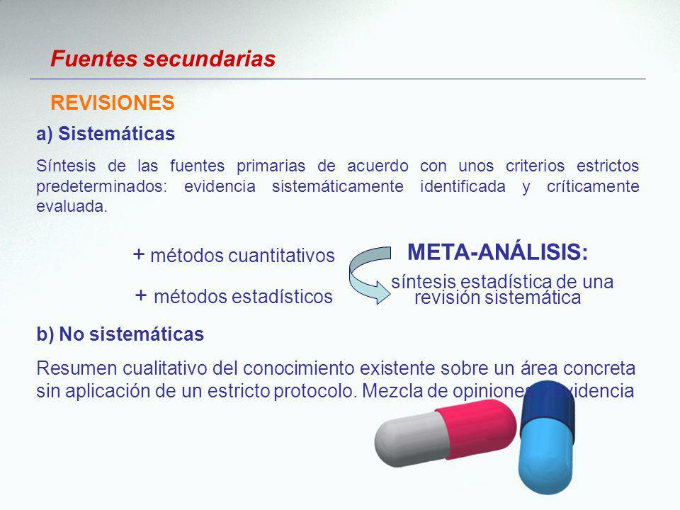 a) Sistemáticas Síntesis de las fuentes primarias de acuerdo con unos criterios estrictos predeterminados: evidencia sistemáticamente identificada y c