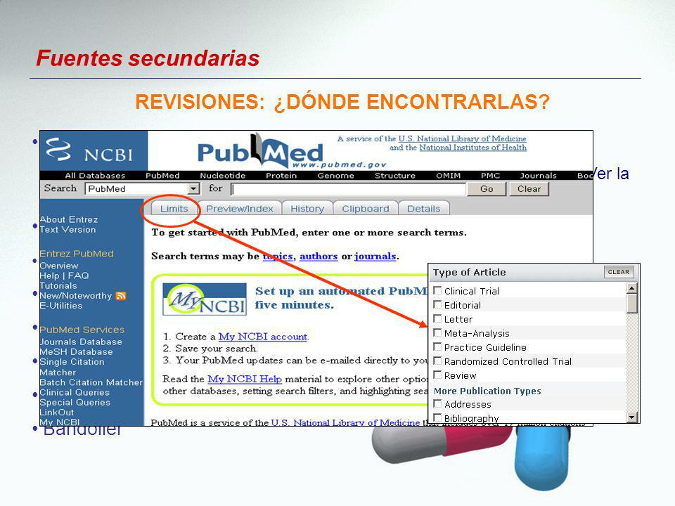 Fuentes secundarias Medline-PubMed - Nombre del medicamento, en limits: Meta-analysis o Review.