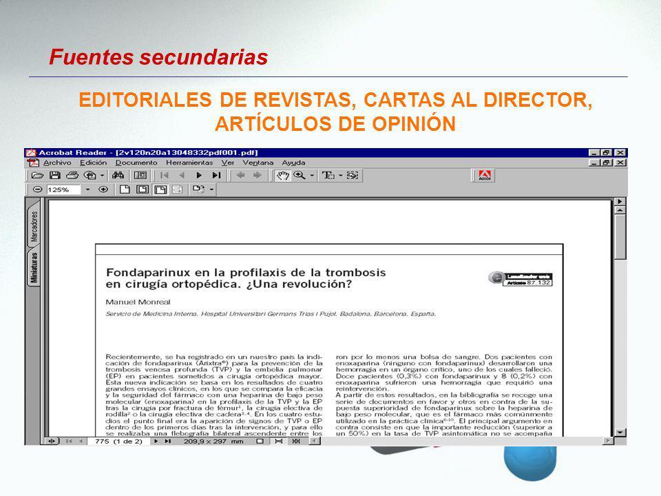 Fuentes secundarias EDITORIALES DE REVISTAS, CARTAS AL DIRECTOR, ARTÍCULOS DE OPINIÓN