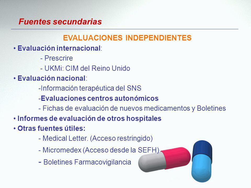 Evaluación internacional: - Prescrire - UKMi: CIM del Reino Unido Evaluación nacional: -Información terapéutica del SNS -Evaluaciones centros autonómi