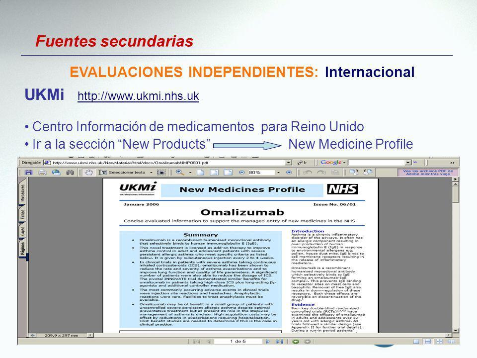Fuentes secundarias EVALUACIONES INDEPENDIENTES: Internacional UKMi http://www.ukmi.nhs.uk http://www.ukmi.nhs.uk Centro Información de medicamentos p