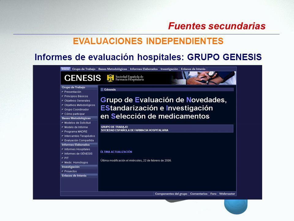 EVALUACIONES INDEPENDIENTES Informes de evaluación hospitales: GRUPO GENESIS Fuentes secundarias