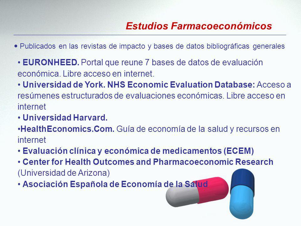 Publicados en las revistas de impacto y bases de datos bibliográficas generales EURONHEED. Portal que reune 7 bases de datos de evaluación económica.