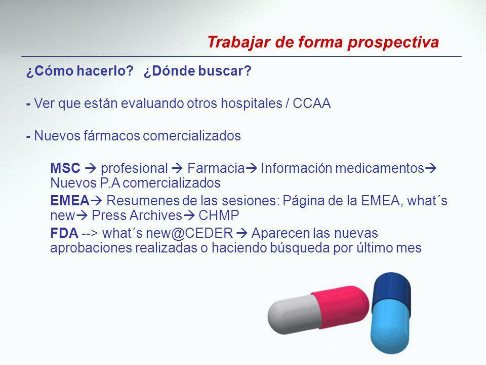¿Cómo hacerlo? ¿Dónde buscar? - Ver que están evaluando otros hospitales / CCAA - Nuevos fármacos comercializados MSC profesional Farmacia Información