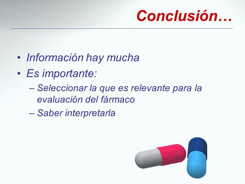 Información hay mucha Es importante: –Seleccionar la que es relevante para la evaluación del fármaco –Saber interpretarla Conclusión…