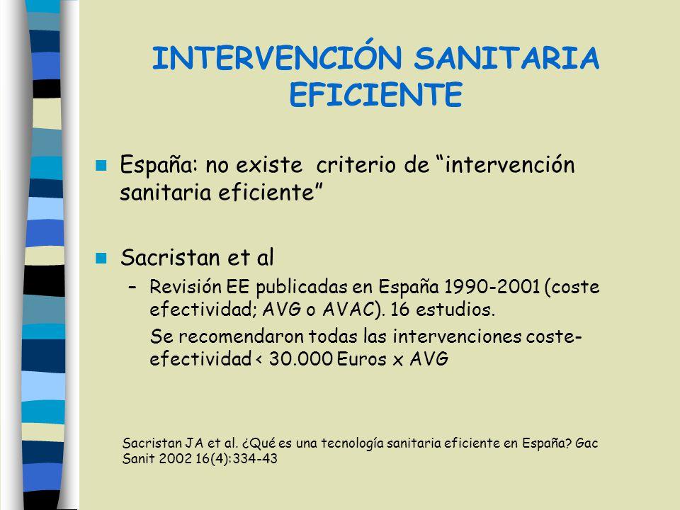 INTERVENCIÓN SANITARIA EFICIENTE España: no existe criterio de intervención sanitaria eficiente Sacristan et al –Revisión EE publicadas en España 1990
