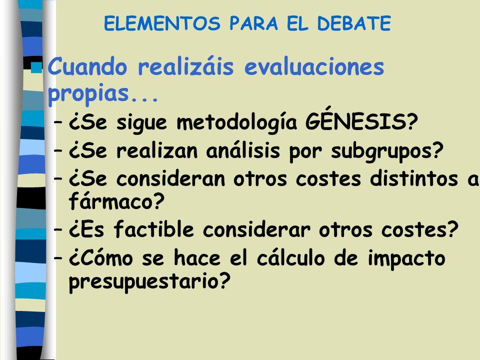 Cuando realizáis evaluaciones propias... –¿Se sigue metodología GÉNESIS? –¿Se realizan análisis por subgrupos? –¿Se consideran otros costes distintos
