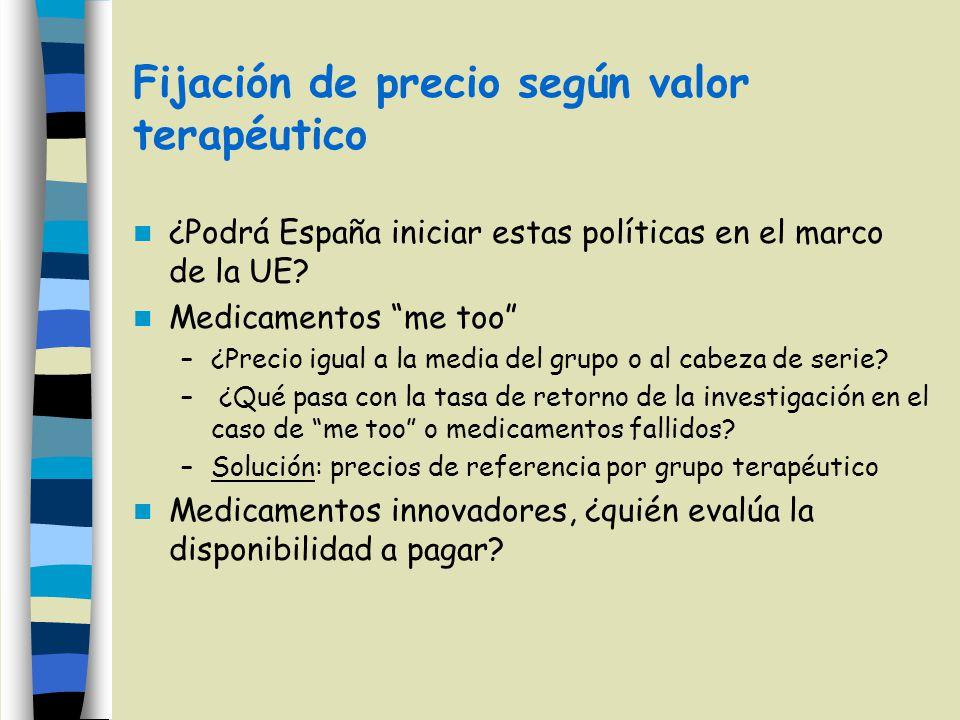 Fijación de precio según valor terapéutico ¿Podrá España iniciar estas políticas en el marco de la UE? Medicamentos me too –¿Precio igual a la media d