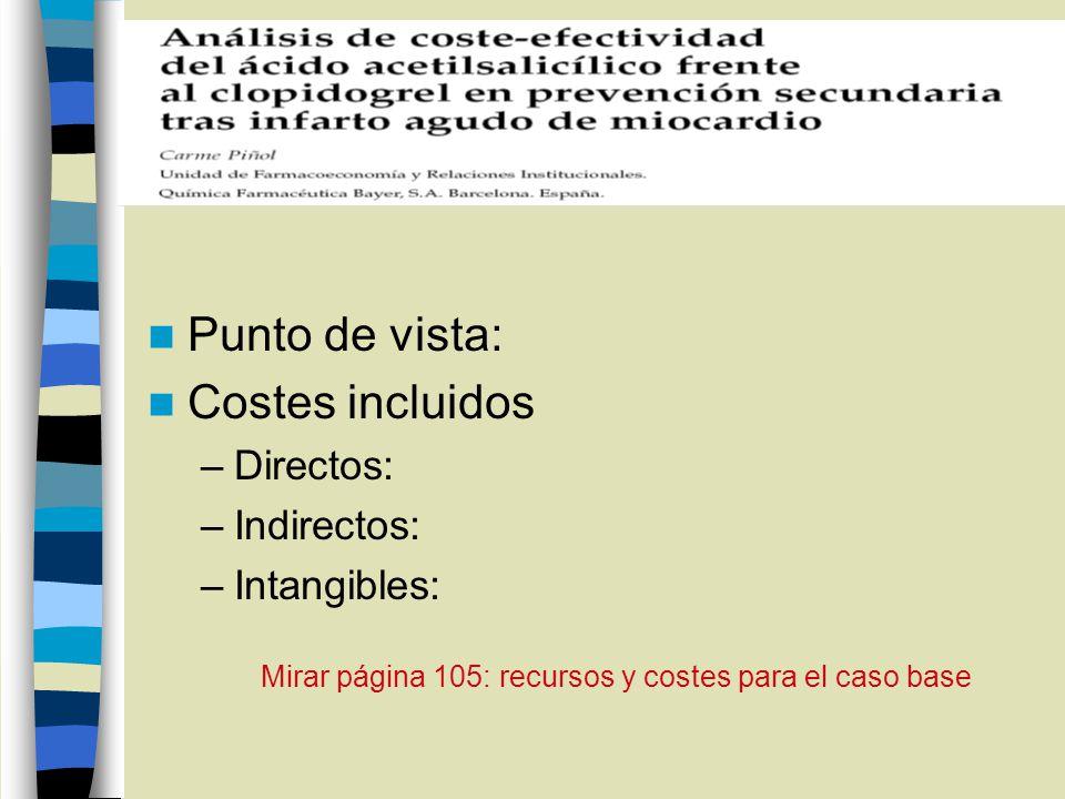 Punto de vista: Costes incluidos –Directos: –Indirectos: –Intangibles: Mirar página 105: recursos y costes para el caso base