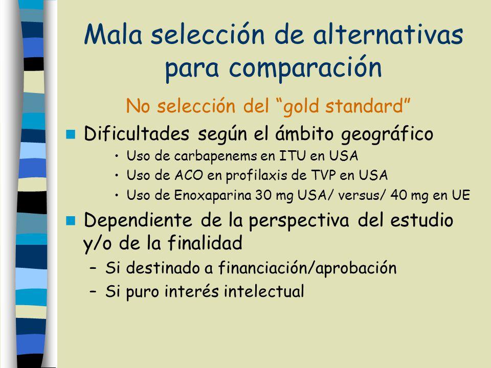 Mala selección de alternativas para comparación No selección del gold standard Dificultades según el ámbito geográfico Uso de carbapenems en ITU en US