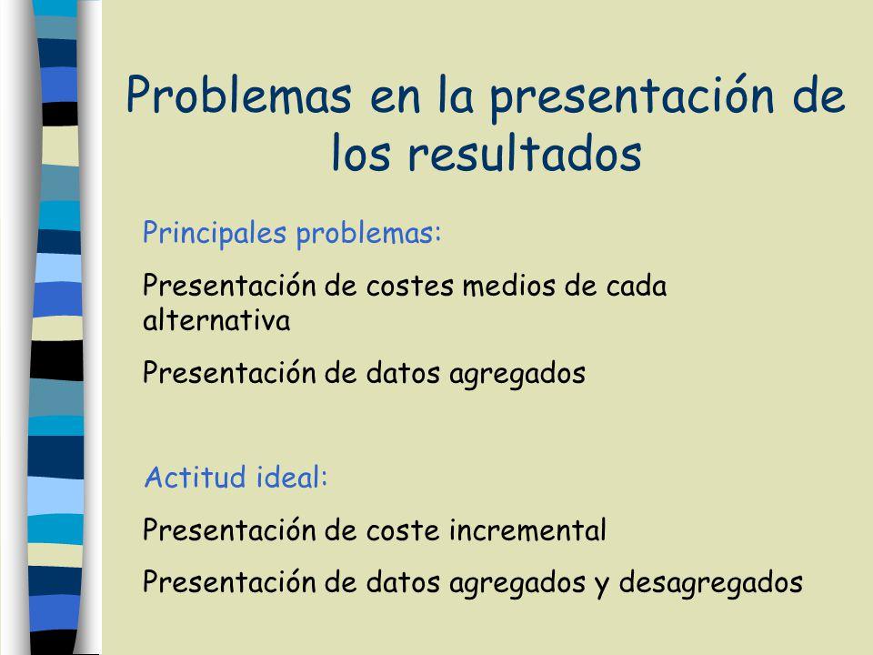 Problemas en la presentación de los resultados Principales problemas: Presentación de costes medios de cada alternativa Presentación de datos agregados Actitud ideal: Presentación de coste incremental Presentación de datos agregados y desagregados