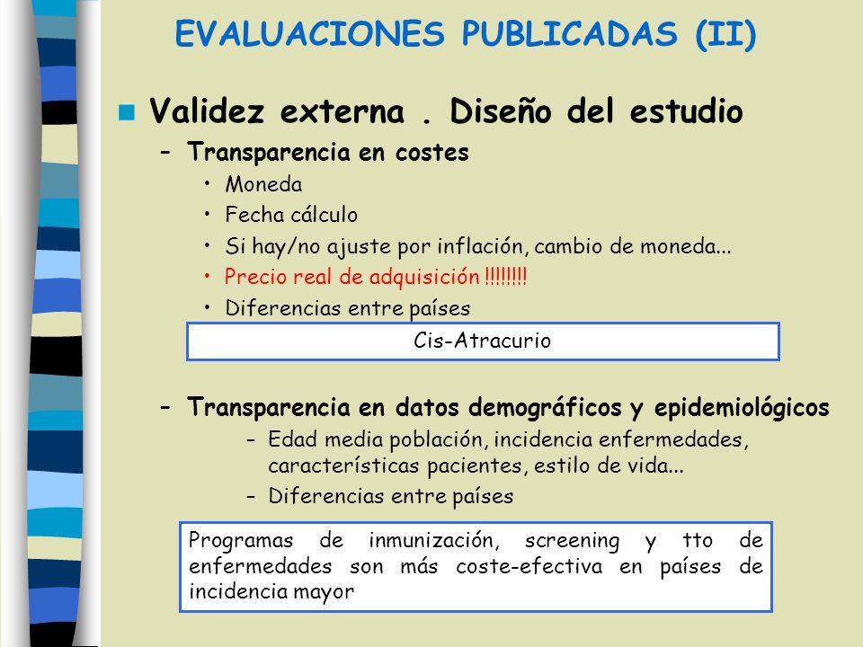 EVALUACIONES PUBLICADAS (II) Validez externa. Diseño del estudio –Transparencia en costes Moneda Fecha cálculo Si hay/no ajuste por inflación, cambio