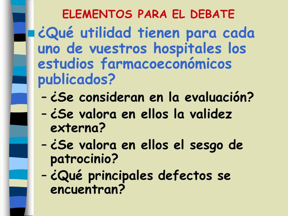 ¿Qué utilidad tienen para cada uno de vuestros hospitales los estudios farmacoeconómicos publicados? –¿Se consideran en la evaluación? –¿Se valora en
