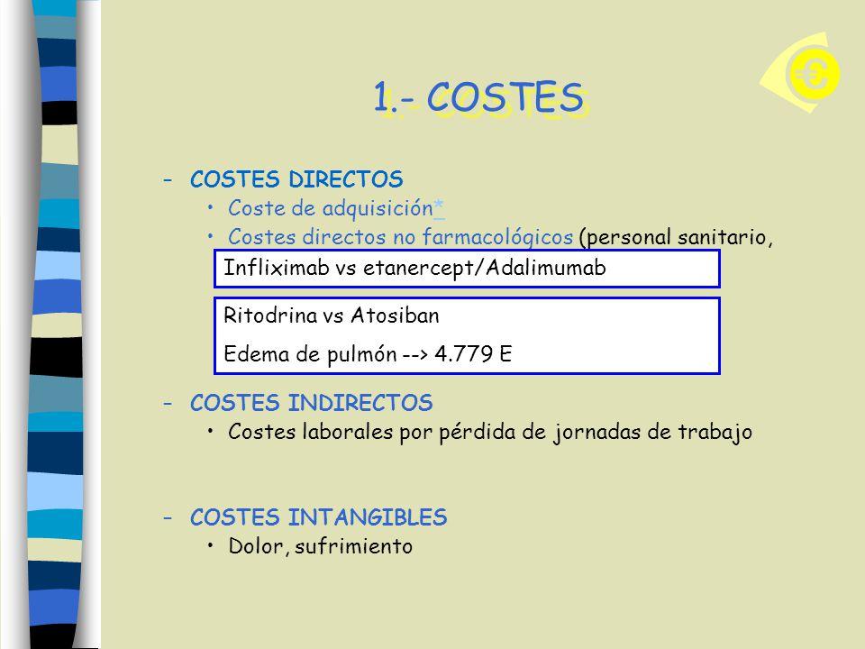 1.- COSTES –COSTES DIRECTOS Coste de adquisición** Costes directos no farmacológicos (personal sanitario, equipamiento, transporte…) –COSTES INDIRECTO