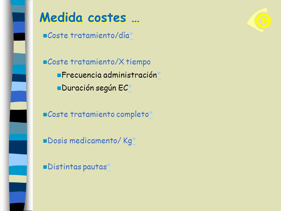 Medida costes … Coste tratamiento/día** Coste tratamiento/X tiempo Frecuencia administración** Duración según EC** Coste tratamiento completo** Dosis medicamento/ Kg** Distintas pautas**