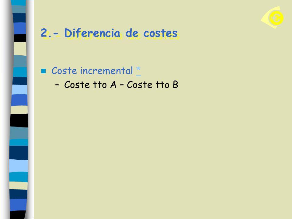 2.- Diferencia de costes Coste incremental ** –Coste tto A – Coste tto B