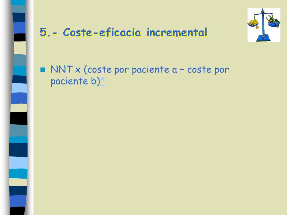 5.- Coste-eficacia incremental NNT x (coste por paciente a – coste por paciente b)**