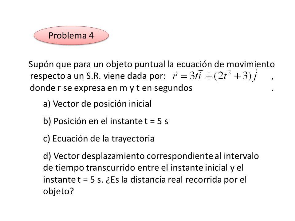 Problema 4 Supón que para un objeto puntual la ecuación de movimiento respecto a un S.R. viene dada por:, donde r se expresa en m y t en segundos. a)