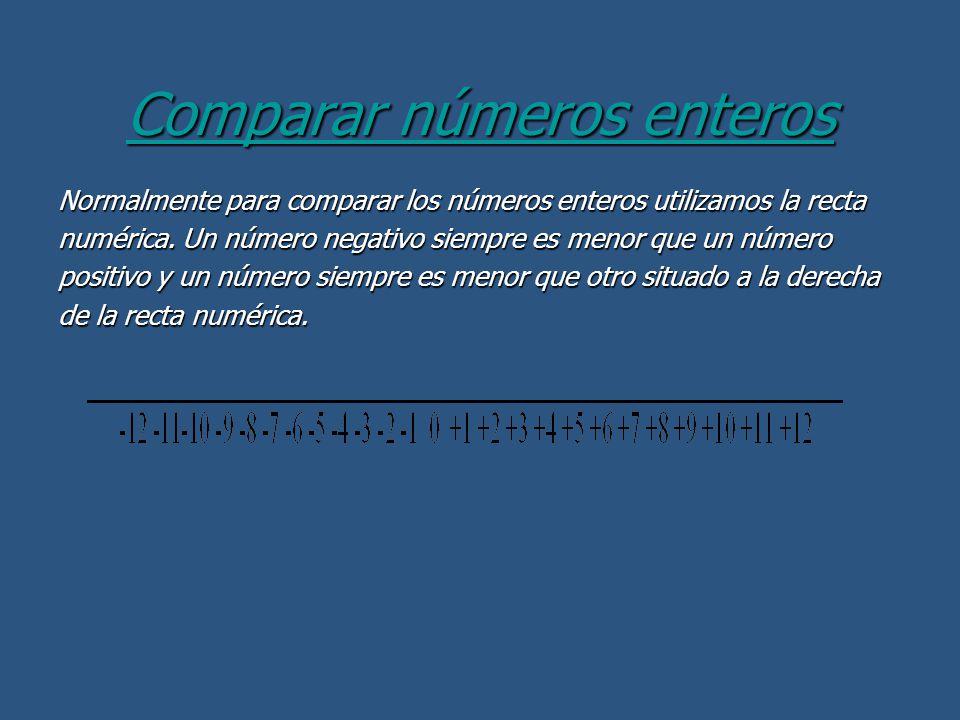 Comparar números enteros Normalmente para comparar los números enteros utilizamos la recta numérica. Un número negativo siempre es menor que un número