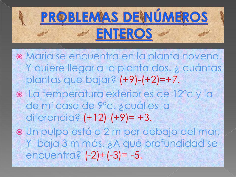 María se encuentra en la planta novena. Y quiere llegar a la planta dos. ¿ cuántas plantas que bajar? (+9)-(+2)=+7. La temperatura exterior es de 12ºc