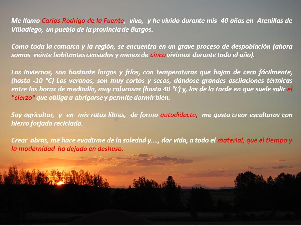 Me llamo Carlos Rodrigo de la Fuente, vivo, y he vivido durante mis 40 años en Arenillas de Villadiego, un pueblo de la provincia de Burgos. Como toda