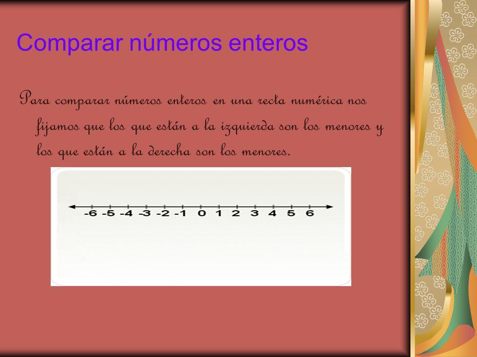 Comparar números enteros Para comparar números enteros en una recta numérica nos fijamos que los que están a la izquierda son los menores y los que están a la derecha son los menores.